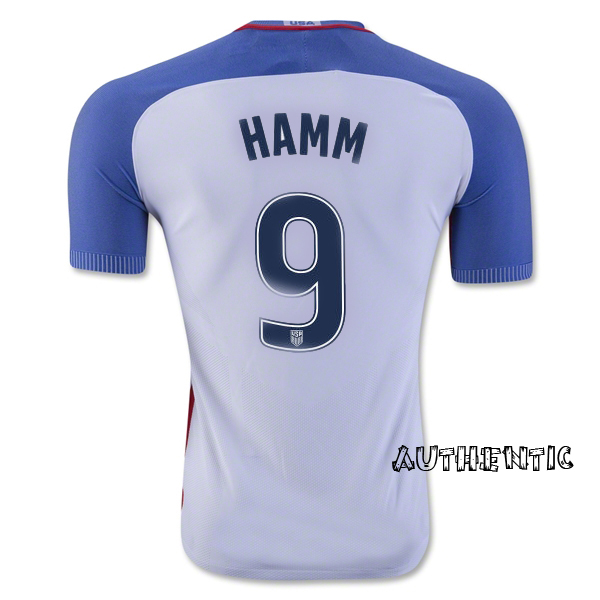 2016/17 USA Home Mia Hamm Men's Authentic Soccer Jersey (#9)